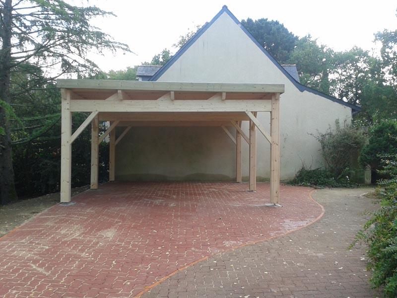 Pr au auvent carport constructions bois abri la romagne - Pergola toit plat ...
