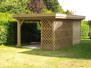 Abri bois gamme hirondelle abri de jardins en bois for Abri de jardin toit plat avec auvent
