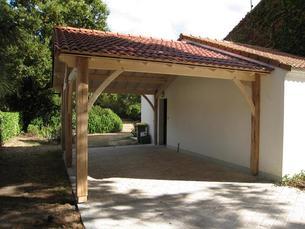 Pr au auvent carport constructions bois abri la romagne - Construire un auvent de porte ...
